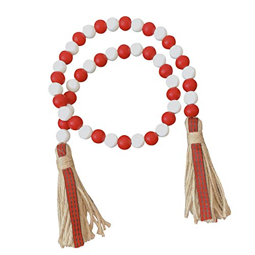 Sliveal Wood Bead Garland with Tassels, Colorful Wall Hanging Pendant Decoration for Living Room/Bedroom Wall