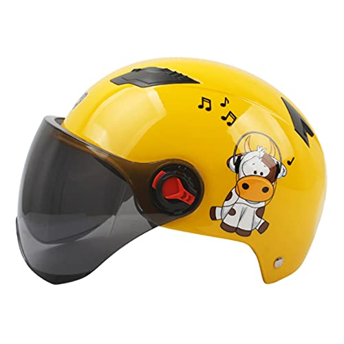 Cascos de Motocicleta Para Hombres y Mujeres,Casco Jet Abierto,Ciclomotor Cascos Con Visera Reflectante.El Cabezal Anticolisión Protege la Seguridad Vial de Los Usuarios,Amarillo
