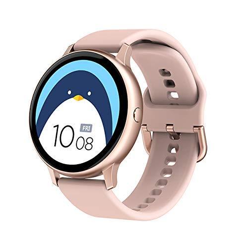 Full Touch Smart Watch Donne Impermeabile Bracciale ECG Monitor Frequenza Cardiaca Monitoraggio Sonno Smartwatch Uomini Per IOS Android (Colore: Mesh Nero) (Silicone Rosa)