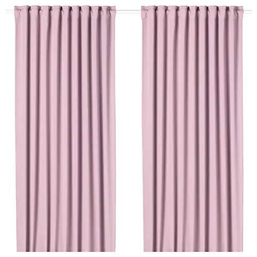 Majgull IKEA Gardinenpaar zur Verdunklung mit Raffhalter und Gardinenband zur Aufhängung an Stange oder Schiene - 145x300 cm - rosa