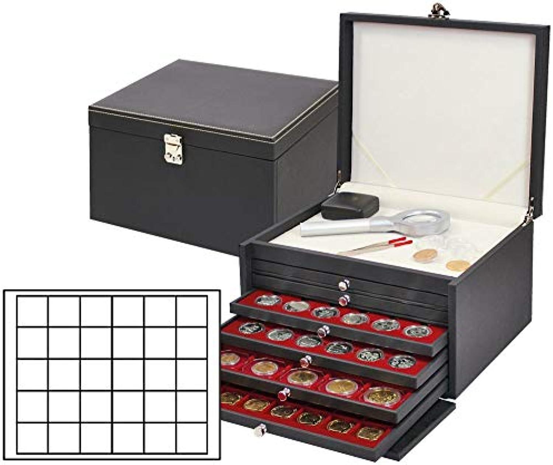 LINDNER Das Original NERA Münzkabinett mit 6 Münzschubladen und dunkelroten Münzeinlagen für 180 Münzen Münzkapseln bis  38 mm