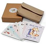 50 Baby Meilenstein Karten mit hochwertiger Filzhülle und Geschenkbox | schöne Geschenkidee zur Geburt, Schwangerschaft, Taufe oder Babyparty | Milestone Baby Cards | Meilensteinkarten Baby