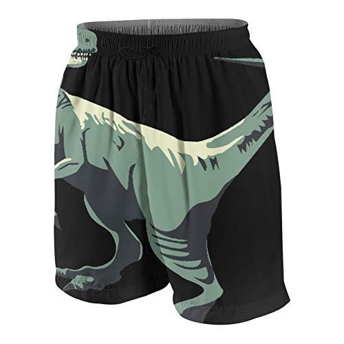SUHOM Herren Beiläufig Boardshorts,Sommer Jurassic Park Raptors Dinosaurier,Schnelltrocknend Badehose Strandkleidung Sportbekleidung mit Mesh-Futter