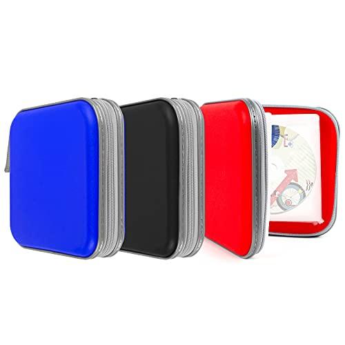 Pochettes à CD, 3 Pcs Rangement CD Pochettes pour Le Stockage de CD dans Les Maisons et Les Voitures, Pochette DVD Rangement Peut Contenir 40 CD et Rangement Classeur CD a 3 Couleur (Rouge Noir Bleu)