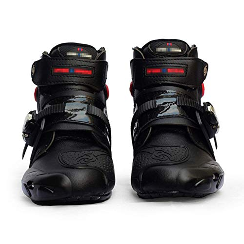 Sooiy Motocicleta Botas de Cuero Impermeable de protección Botas de Carreras de Motocross en Carretera Crash Protectora con Cremallera Zapatos gratuitos,Negro,43