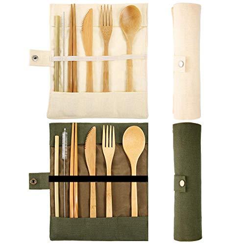 Longsing Couverts en Bamboo Camping Voyage Couverts en Bambou 2 Paquets de Couteau Réutilisable Fourchette Cuillère Baguettes Baguette Pinceau (Beige et Vert)