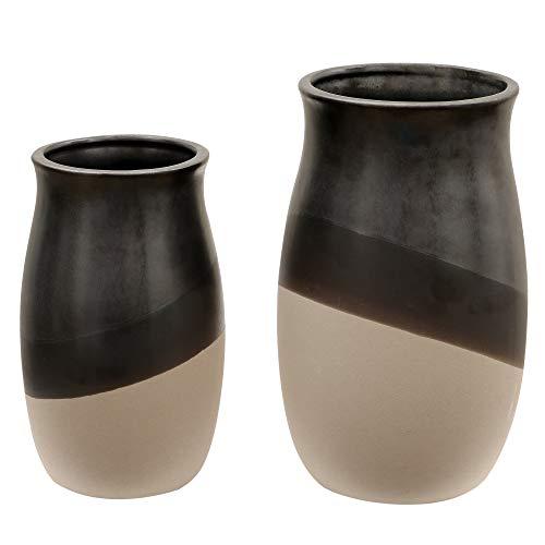TERESA'S COLLECTIONS Set van 2 keramische bloemenvazen, 17 / 21cm hoge bruine decoratieve vaas voor woonkamer, keuken, tafel, huis, kantoor, bruiloft, middelpunt of als cadeau