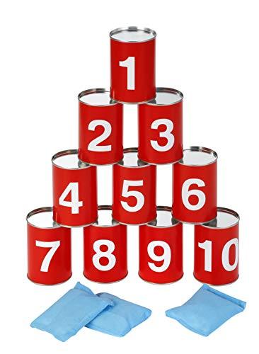 Knorrtoys 56016 - Dosenwerfen Blechdosen Wurfspiel inkl. 10 Blechdosen und 3 Wurfsäckchen