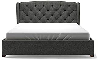 Asghar Furniture - Embre Wingback Tufted Bed - Charcoal Grey, Super King Without Mattress