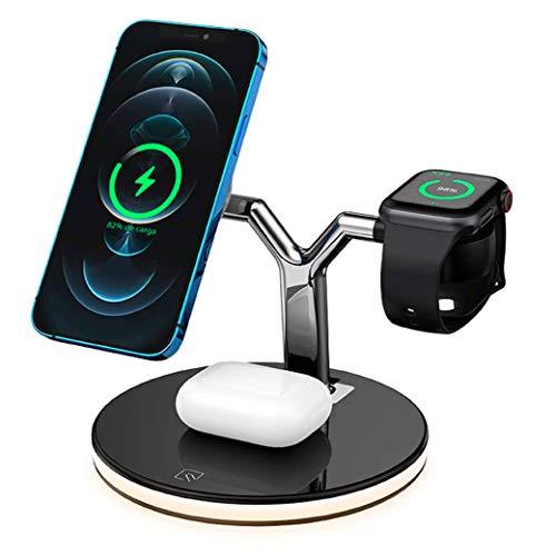 Cargador inalámbrico magnético rápido 3 en 1 de 25W de Potencia, Compatible con QI, Compatible con iPhone 12 Pro MAX iWatch Airpods Soporte para teléfono de Escritorio con Carga inalámbrica (Negro)
