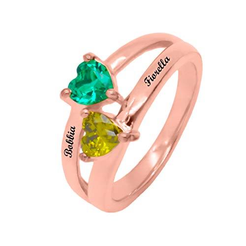 Personaliza 2 anillos de piedra natal DIY anillo con nombre anillo en forma de corazón anillo de promesa Navidad para novia(Chapado en oro rosa de 18 k 18.5)