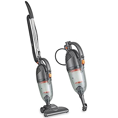 VonHaus Gray 2 in 1 Corded Bagless Lightweight Stick Vacuum and Handheld Vacuum Cleaner with Swivel, HEPA Filtration Includes Crevice Tool and Brush Accessories