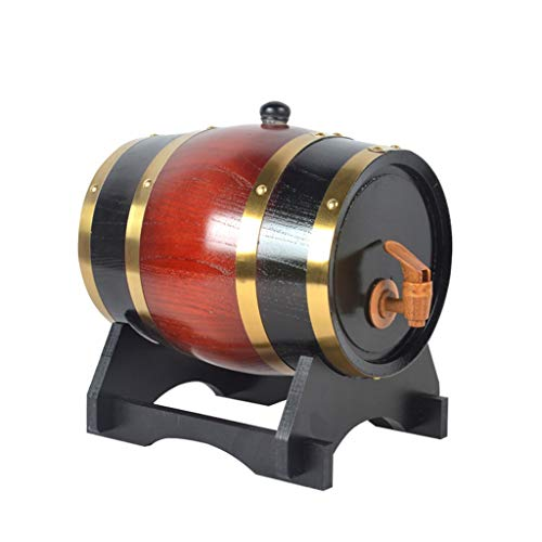 Cubo de Envejecimiento de Roble Cubo de Whisky de 10 litros Adecuado para Almacenar Ron de Cerveza de Whisky Forro de Papel de Aluminio Incorporado (Color : Deep Red, Size : 10L)