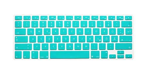 Protector de teclado para MacBook Air Pro Retina de 13 pulgadas, 15 y 17 pulgadas, diseño de letras alemanas para MacBook 13 y 15 QWERTZ-Skyblue