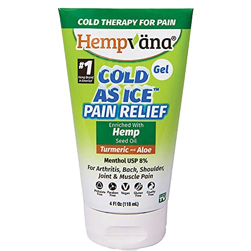 As Seen On TV Cold As Ice Pain Relief Gel by Hempvana, Fast-Acting Menthol Pain Gel with Hemp Seed Extract, Turmeric, & Aloe for Arthritis Pain Relief, Joint Pain Relief, Back Pain, Muscle Soreness