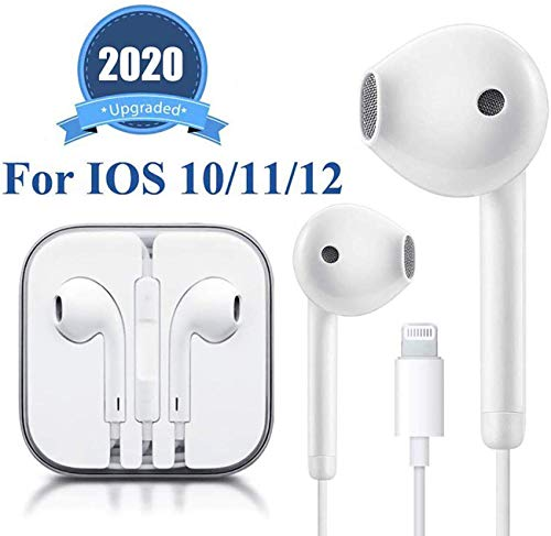 Lighting Headphone Wired Earphones Headset with Microphone and Volume Control, Compatible with iPhone 11 Pro Max / Xs Max / XR / X / 7/8 Plus Plug and Play Carrier Cell Phones Devices Floppy Diskettes