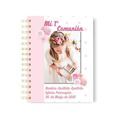 Onepersonal - Libreta Personalizada primera comunión | Cuaderno Personalizable niña para regalo de primera comunión para añadir Foto y texto | Diseño flores (PACK 5 UNIDADES)
