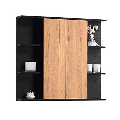 Badrum väggmonterad spegelskåp, kök stor kapacitet lagringsskåp, medicinskåp med spegel, skåp dörr kan vikas (Color : White, Size : 100 * 14 * 70cm)