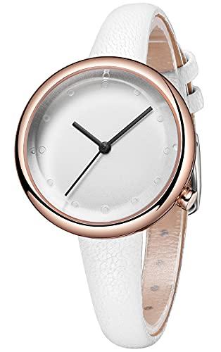 CIVO Reloj de pulsera para mujer, resistente al agua, minimalista, correa de piel, elegante, informal, analógico, de cuarzo, para mujeres y niñas, 4 blancos.,
