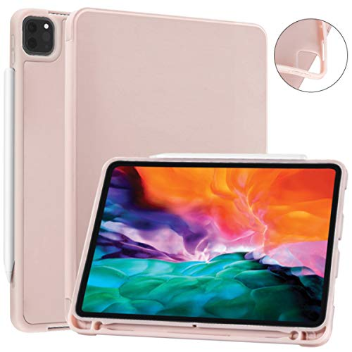 SIWENGDE Case for iPad Pro 11 2020& 2018, Support iPad 2nd Pencil Charging & Pair,Hard Cover with Auto Sleep/Wake,Full Body Protective Rugged Shockproof Case for iPad Pro 11 Inch 2020 (Tender pink)
