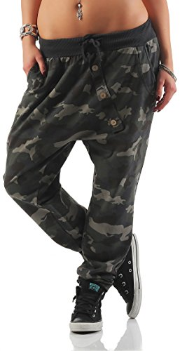 Mississhop 165 Damen Hose Sweatpants Camouflage Militär Print Jogginghose Freizeithose Boyfriend Baggy Pumphose Gummibund Tarnmuster Dunkelgrau