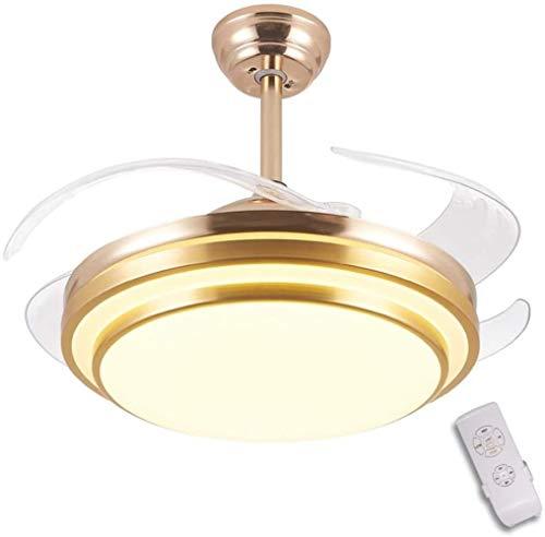 Wodtree 42 Zoll-Leichtdeckenventilator, Schlafzimmer Raumdeckenventilator mit LED-Licht und Fernbedienung Incorporated, mit 4 Klingen Transparent, LED 36 W, 3 Geschwindigkeiten, DREI Farben, Gold