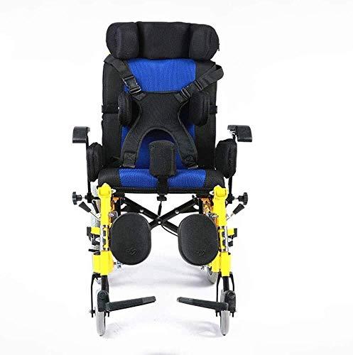 HWZLOIK Rolstoel, Children's Cerebral Palsy Gehandicapten rolstoel Lichtgewicht Auto van het kind opklapbare tafel met A Flat Lay, roestvrij staal