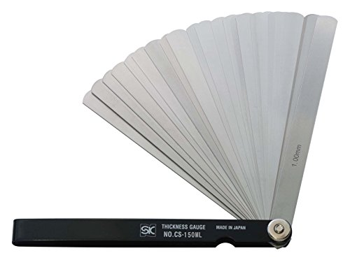 新潟精機 SK シクネスゲージ(すきまゲージ) カラースリーブタイプ 黒 19枚組 150mm CS-150ML 0.01-1.00mm