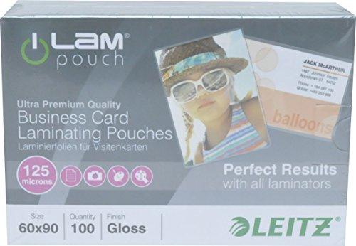 Leitz Heißlaminierfolien, Glänzend, transparent, 60 x 90 mm Folienstärke 125 mic, 100er Pack, 73690002