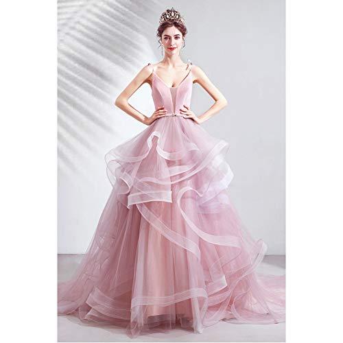BINGQZ Damen Party Kleider, Maxikleid, Cocktailkleider Abendkleider,Rosa Netzkleid Brautkleid