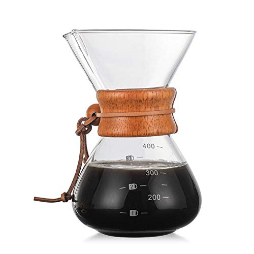 Pour Over Kaffeebereiter, 400ml Premium Hohen Borosilicate Hitzebeständigen Glas Kaffeekanne Mit Holzhals, Für Einen Perfekten, Per Hand Aufgegossenen Filterkaffee