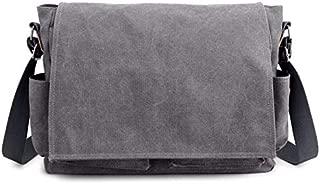 Solid Color Multi-Function Cloth Bag Large Capacity Men's Shoulder Computer Bag Canvas Bag Men Bag (Color : Grey)