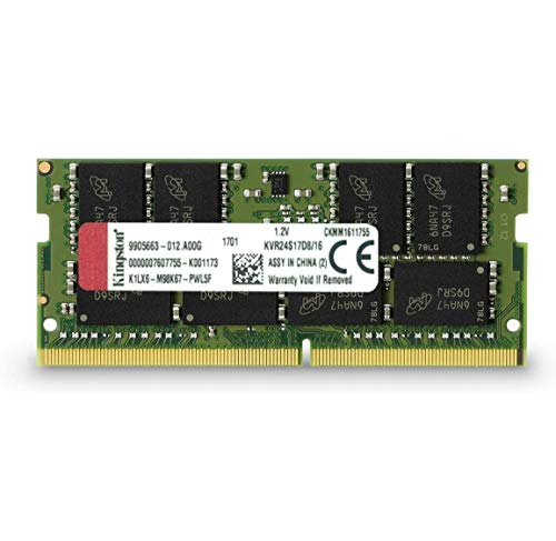 キングストンKingstonノートPC用メモリ DDR4-2400 PC4-19200 16GB CL15 1.2V Non-ECC SODIMM 260pin KVR24S17D816 永久保証