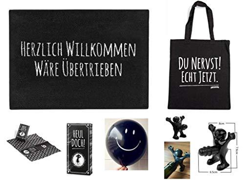 """Pechkeks XL Geschenke Set 7-teilig - Fußmatte mit Spruch """"Herzlich Willkommen + Tasche Du Nervst! Echt jetzt + Rotzlappen Heul doch + Flaschen Verschluss Happy Man + Luftballon Smiley Black"""