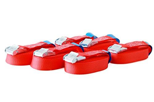 6 Spanngurte Zurrgurte mit Klemmschloss Klemmschlossgurt Befestigungsgurt Riemen, belastbar bis 250 kg, nach DIN EN 12195-2, Länge 4m Breite 25mm, einteilig, rot