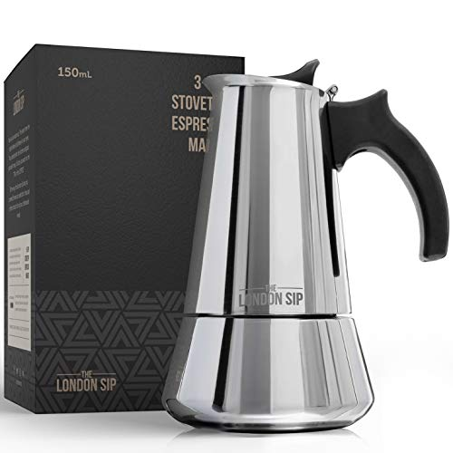 Stainless Steel Induction Stovetop Espresso Maker - Make Cafe Quality Italian Style Coffee at Home with This Premium Moka Pot in Modern Chrome, by The London Sip Company.… (Silver, 3 Cup)