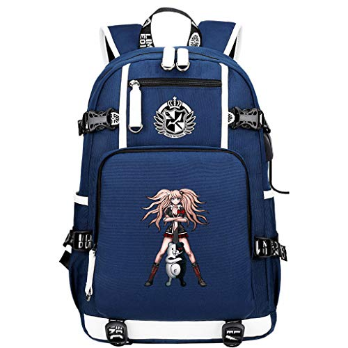 FDC-KC Danganronpa: Trigger Happy Havoc Laptop Backpack Men Anti-Theft USB Charge Bagpack for Teenagers Waterproof Travel Backpack Male Blue 48X30X15CM