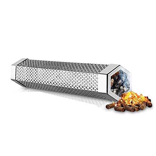 Zhenwo Generador De Humo Frío De Acero Inoxidable, Generador De Humo De La Barbacoa, Generador De Humo Frío para El Fumador, Fumar Carne, Pescado Y Verduras Más Finos Aromas,Plata