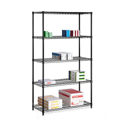 HoneyCanDo SHF-01440 5-Tier Black Storage Shelves 800 lbs