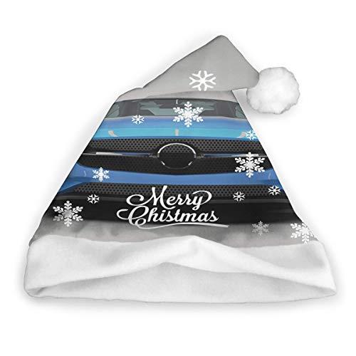 Moderne blaue Sportwagen Power Prestige Geschwindigkeit schnelles Fahrzeug Automobile Bild Weihnachtsmütze Weihnachtsmütze Kurzer Plüsch mit weißen Manschetten Plüsch Weihnachtsmütze für Erwachsene