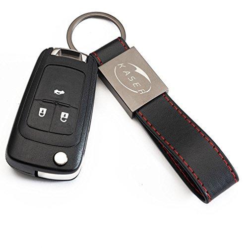 Coque Clé Télécommande Plip pour Chevrolet 3 Boutons Cruze Aveo Spark Captiva Matiz avec Porte-Clés en Cuir KASER