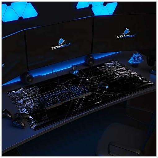 CSL – Alfombrilla de ratón de gaming Titanwolf 1200 x 600 mm – XXXL alfombrilla de ratón grande con diseño – Base de… 2