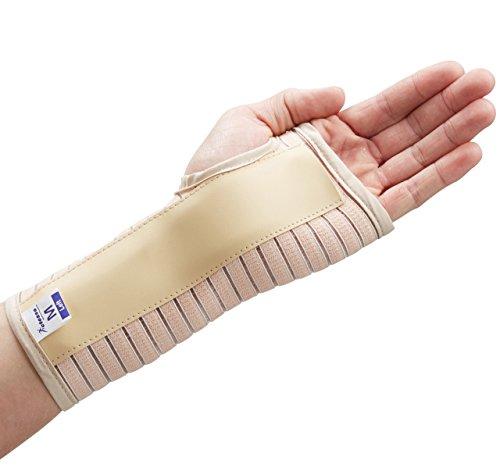 Actesso Atmungsaktiv Handgelenkschiene Handgelenkbandage - Ideal für Karpaltunnelsyndrom, Zerrungen oder sehnenscheidenentzündung - Links oder Rechts - Klein - Groß (Beige, Moyen Gauche)
