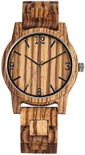 Noble Reloj de Madera de Cuarzo para Hombre Encantador dial marrón con números árabes Dorados Reloj de Madera para Mujer práctica Correa de Madera para Mujer