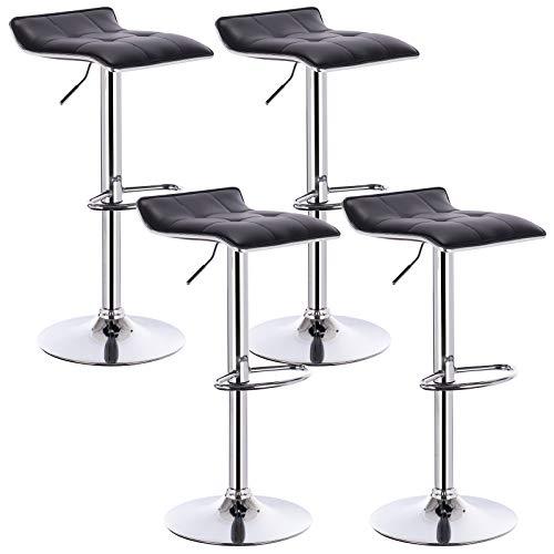 WOLTU 4er Set Barhocker Barstuhl Design Hocker, Höhenverstellbar, Gut Gepolsterte Sitzfläche, Antirutschgummi, verchromter Stahl Kunstleder Schwarz BH28sz-4