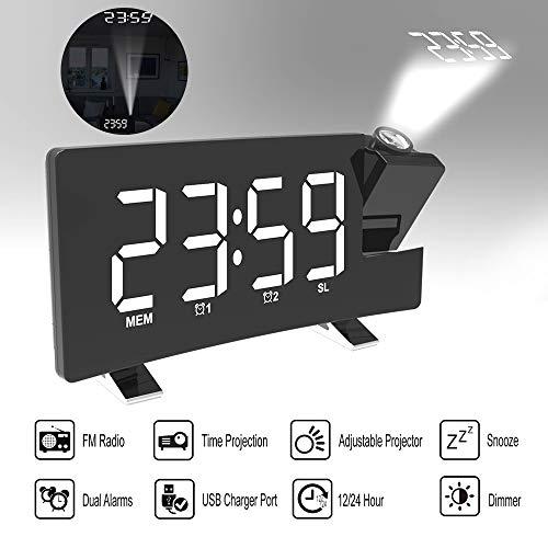 Lixada Despertador Digital Proyector Reloj de Alarma de Radio FM con Proyección Multifuncional con Puerto de Carga USB