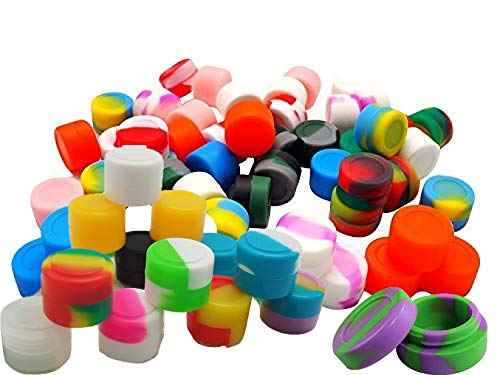 silicone container wax 2ml Non-Stick Food Grade Silicone Oil Kitchen Container Dab Wax Concentrate Storage Jars, silicone wax containers, silicone dab container 2 ml (50, colorful)