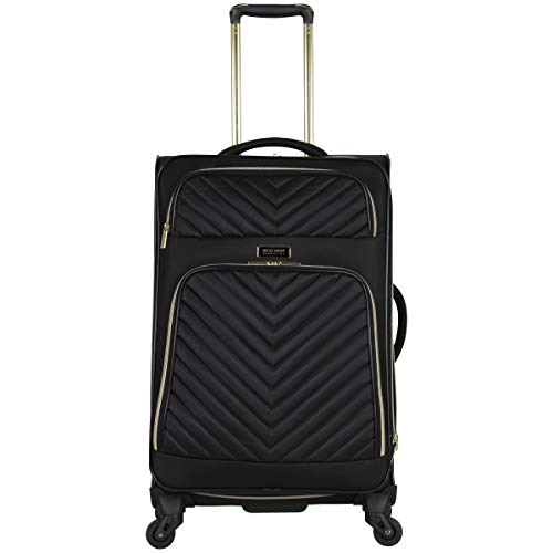 Kenneth Cole Reaction Women's Chelsea 24' Softside Chevron Quilted Expandable 4-Wheel Spinner Checked Suitcase, Black