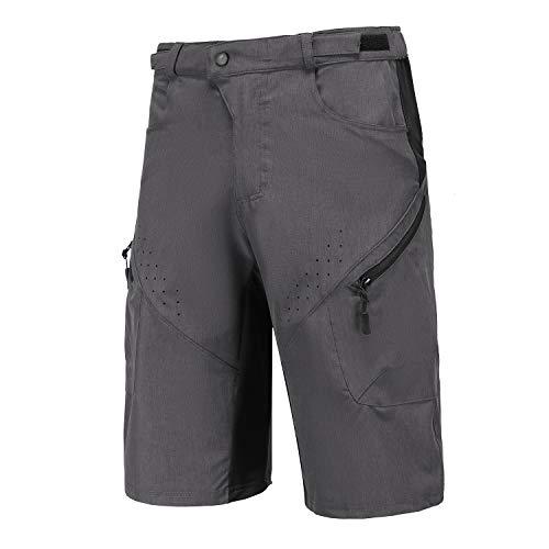 Priessei Men's Mountain Bike Shorts Lightweight MTB Cycling Shorts with Zip Pockets Dark Grey M