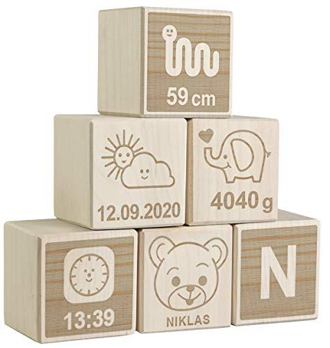 LAUBLUST 6er Set Holzwürfel mit Gravur - Teddybär, Natur - Personalisiertes Geschenk zur Geburt | Erinnerung & Deko